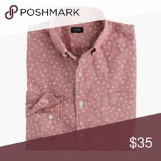 🎉🎉HP!! J. Crew red chambray anchor print shirt Long sleeve shirt in new without tags condition. Purchased and washed once. J. Crew Shirts Casual Button Down Shirts