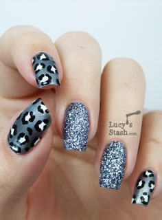 Metallic Gray Leopard Print with Silver Glitter Polish Nail Art by Lucy's Stash - you could also use this idea with just black polish on one of the other nails too #manicure...x