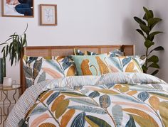 Hikkaduwa's delicious tropical tones are the next big thing from Scion. Botanical vibes are sweeping our home decor this season. Named after one of Sri Lanka's palm-fringed beaches, painterly banana leaves overlap on this colourful bedding set. Choose from a 100% cotton duvet cover set in single, double, king or super king sizes, with a fine striped reverse and finished with a concealed transparent button opening. 100 Cotton Duvet Covers, Duvet Cover Sets, Botanical Bedroom, Scion, Leaf Prints, King Size, Print Design, Pillow Cases, Cushions
