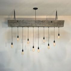 industrial lighting 60 reclaimed barn wood beam with metal brackets and wrapped led edison. Black Bedroom Furniture Sets. Home Design Ideas