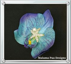 BLUE ORCHID BRIDAL Hair Clip Tru Touch Silk Flower by MalamaPua