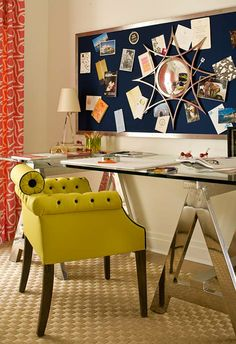 Youthful Desk Area for a college-bound teen, a slick desk, a shapely vintage chair in eye-popping chartreuse while a nickel-framed bulletin board with navy fabric offers a sleek spot to hang a sunburst mirror as well as notes and mementoes.