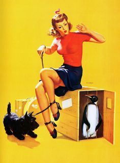 """""""What's Cooking"""" by Gil Elvgren  (1946) WTF is going on in this picture?????"""