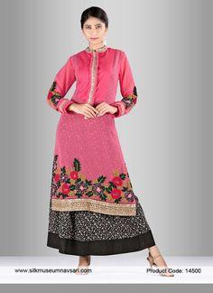 Black And Hot Pink Cut Dana Festival Salwar Suit