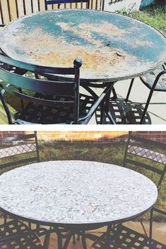 Wondering how can I make cheap patio furniture look better? Check out these before and after patio furniture makeovers to inspire your metal patio furniture makeover or how to Update an Old wood Table. #outdoorfurniture #makeover #beforeafter #diy