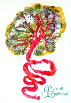 Sponged placenta print to celebrate the tree of life.  www.butterflybeginnings.com.au