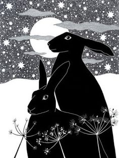 Art print Black hares Ink drawing Ink Illustration 10 by caitlihne Art And Illustration, Rabbit Illustration, Lapin Art, Street Art, Rabbit Art, Bunny Art, Pics Art, Oeuvre D'art, Printmaking
