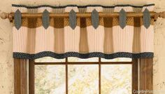 Black Star Lined Tab Cut Out Curtain Valances