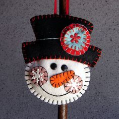 Wool Felt Snowman with Top Hat Ornament Hanger by FHGoldDesigns, $6.50