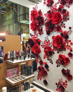 "MIO GALLERY• Paper art studio• on Instagram: ""This was a real Paradise for Girls... This paper flower wall was one of our 4 installations for @purobio_cosmetics stand during #SANA2016 in Italy.... #purobiocosmetics"""