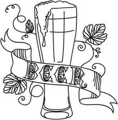 Here's to beer! Downloads as a PDF. Use pattern transfer paper to trace design for hand-stitching.