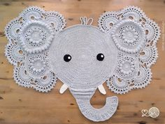 Victor or Victoria, the Crochet Elephant Rug. Made from pure organic cotton yarn, this crochet rug is made using 2 strands of yarn at once for an E...