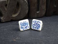 Porcelain & 925 Sterling Silver Square Post Earrings  by DoeandDay