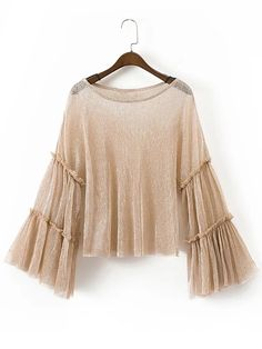 Bell Sleeve Frill Trim Sparkle Detail Top