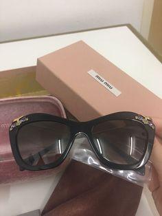 72efeebd34f3 BNIB Miu Miu SMU03P Crystal Cat Eye Sunglasses Navy Ble Rare  fashion   clothing