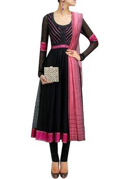 Black striped yoke kalidaar kurta set BY PAYAL PRATAP. Shop now at: http://www.perniaspopupshop.com/ #perniaspopupshop #designer #Indianwear #PayalPratap #beautiful #classy #chic #feminine #labellove #graceful #happyshopping #fashion #style #tasteful #refined