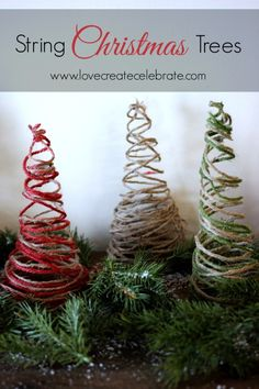 String Christmas Trees - Love Create Celebrate - Homemade Jute String tree decor :) Easy tutorial! #holiday #styrofoam #cdnhomemadeholiday #red #green