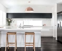 Kitchen Remodeling Plan 24 Stylish Black and White U-Shaped Kitchen - If you want to achieve a classy and sophisticated look - whether this be in your fashion style or in your home design- choosing the black and white Farmhouse Style Kitchen, Modern Farmhouse Kitchens, Home Kitchens, Colonial Kitchen, Apartment Kitchen, Kitchen Interior, Kitchen Decor, Condo Kitchen, Kitchen Ideas