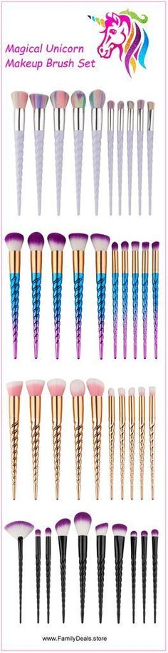 """Rainbow Unicorn Lashes""  Unicorn Makeup Brush Set"