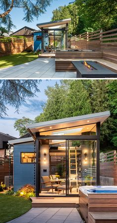 Board & Vellum Have Designed A Backyard Reading Retreat In Seattle Architecture and design studio Board & Vellum, have created a backyard reading retreat that's surrounded by outdoor seating, a firepit, a hot tub, and a new backyard shed. Backyard Cottage, Backyard House, Backyard Studio, Backyard Sheds, Backyard Retreat, Container Home Designs, Container Homes, Tyni House, Modern Shed