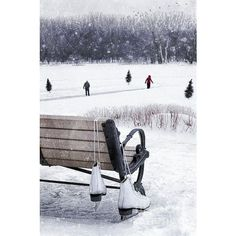 Ice Skates Hanging On Bench With People Skating In Background ❤ liked on Polyvore featuring backgrounds, pictures, winter, christmas and fillers