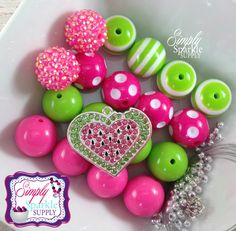 Watermelon Heart Summer Beach DIY Chunky Necklace kit Chunky Bead Kit Bling Bubblegum Beads make it yourself
