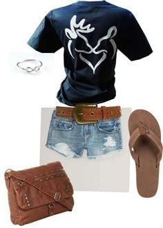 Wear short brown boots with short shorts, E Pluribus Unum shirt, and dark cowgirl belt.