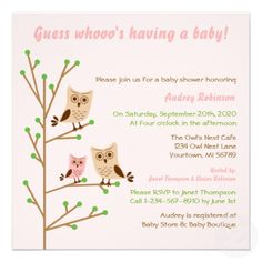 Cute Owl Family Personalized Invitations
