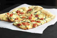 Lovely blend of flavours and textures at work in this delicious Zucchini Bruschetta Garlic Breadcrumb Pizza. #pizza #burschetta #Italian #dinner #meals #flatbread #zucchini #garlic #tomatoes #vegetables #breadcrumbs #vegetarian #food #cooking #delicious