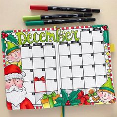 Memory keeping in my bullet journal Christmas elves bullet journal spread! December monthly bujo layout in my Scribbles that Matter dot grid journal. Bullet Journal December, Bullet Journal Christmas, Bullet Journal Monthly Spread, Bullet Journal Notebook, Bullet Journal Themes, Bullet Journal Layout, Bullet Journal Inspiration, My Journal, How To Make Drawing