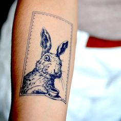 LAZY DUO Rabbit Bunny retro hippie Temporary Tattoo Sticker Alice art fake temp…