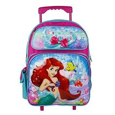 828315e77d1 Disney The Little Mermaid Pink 16 Rolling Backpack     Click image to  review more