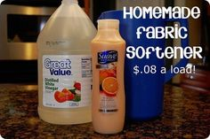 How To:  Make Fabric Softner - 2 cups scented conditioner, 3 cups white vinegar, 6 cups hot water, container to mix & store fabric softer.  Mix all ingredients together. Use a pitcher to mix together; pour mixture into an empty containter. One minute stirring time, mixture is complete whne clumps are gone. DO NOT SHAKE IT!  USE 1/4 CUP per load of wash.