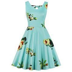 961ceb8e6f60 Plus Size Womens Avocado Print Vintage Party Sleeveless Dress Pin Up Swing  Dress
