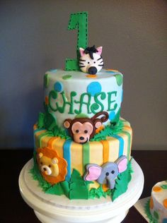 jungle animal themed birthday cakes kids - Google Search