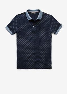 Mango Navy Rhombus print piqué polo shirt £29.99 (33050010 - SUED) Gola Polo cb0ff300ca