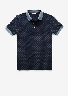 Mango Navy Rhombus print piqué polo shirt £29.99 (33050010 - SUED)
