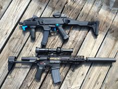 """whiskey-gunpowder: """" Three Stamp CZ Scorpion EVO and 8.5"""" 300blk AR with SpecWar 762 """""""