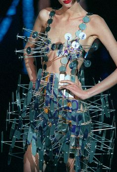 Paco Rabanne's last Haute Couture show for Fall 1999, inspired by the prophecies of Nostradamus.  #fashion
