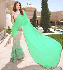 Sea Green Color Half Net & Half Georgette Function Wear Sarees : Aparna Collection YF-28259