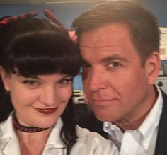 """Me and Michael Weatherly in the NCIS lab. I LOVE YOU MAN!"""