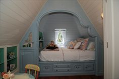 adorable attic built in bed