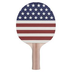 American USA Flag Patriotic July 4th Ping Pong Paddle Show your USA pride with this American Flag Patriotic Red, White and Blue Ping Pong Paddle featuring Red and white stripes and white stars. Check out other American flag inspired and colorful gifts - just click on our logo below.