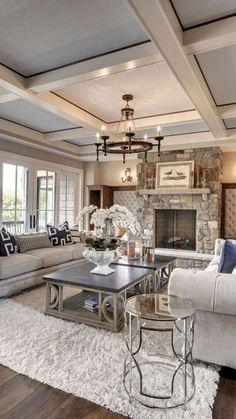 Luxury Interior Design Ideas – via Houzz - Best Home Deco Chic Living Room, Home Living Room, Living Room Designs, Cozy Living, Small Living, Apartment Living, Living Room Ceiling Ideas, Cozy Apartment, Studio Apartment