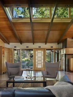 Love this. High ceiling, check. Spacious, check. Great greenery to look out to, check!