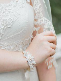 Gold Silver Bridal Cuff  Wedding Bracelet  Pearl by EderaJewelry