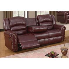 Sofa Sale Meridian Burgundy Chelsea Dual Reclining Sofa with Nailhead Detail Sofa Red Bonded Leather