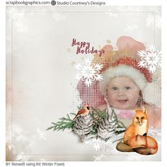 This uber cute kit with watercolor foxes and a beautiful painted robin is by Courney's Designs called Winter Foxes http://shop.scrapbookgraphics.com/winter-foxes-mini-free-with-purchase.html