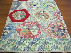 Antique Cutter Quilt Feedsack Patchwork Hand Pieced Quilted Project Piece #6-H