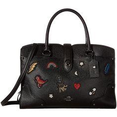 COACH Souvenir Embroidery Mercer 30 Satchel (DK/Black) Satchel... ($495) ❤ liked on Polyvore featuring bags, handbags, cell phone purse, crossbody handbags, leather satchel handbags, leather satchel purse and coach handbags